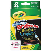 Crayola® Washable Dry Erase Bright Crayons, Nontoxic, Assorted Colors, 8/Box
