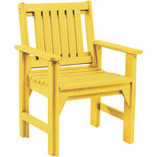 "Generations Dining Slat Back Style Arm Chair, Yellow, 21""L x 25""W x 36""H"