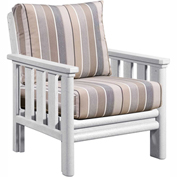 Stratford Outdoor Chair, White w/ Milano Charcoal Sunbrella Cushions