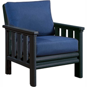 Stratford Outdoor Chair, Black w/ Indigo Blue Sunbrella Cushions