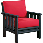 Stratford Outdoor Chair, Black w/ Jockey Red Sunbrella Cushions
