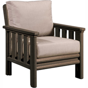 Stratford Outdoor Chair, Chocolate w/ Berenson Tuxedo Sunbrella Cushions