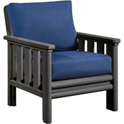 Stratford Outdoor Chair, Slate Gray w/ Indigo Blue Sunbrella Cushions