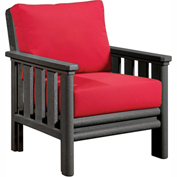 Stratford Outdoor Chair, Slate Gray w/ Jockey Red Sunbrella Cushions