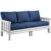 Stratford Outdoor Sofa, White w/ Indigo Blue Sunbrella Cushions