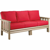 Stratford Outdoor Sofa, Beige w/ Jockey Red Sunbrella Cushions