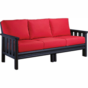 Stratford Outdoor Sofa, Black w/ Jockey Red Sunbrella Cushions