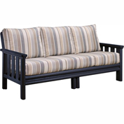 Stratford Outdoor Sofa, Black w/ Milano Charcoal Sunbrella Cushions