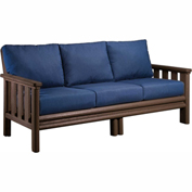 Stratford Outdoor Sofa, Chocolate w/ Indigo Blue Sunbrella Cushions