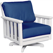 Stratford Outdoor Swivel Chair, White w/ Indigo Blue Sunbrella Cushions