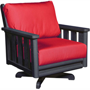 Stratford Outdoor Swivel Chair, Black w/ Jockey Red Sunbrella Cushions