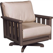 Stratford Outdoor Swivel Chair, Chocolate w/ Beige Sunbrella Cushions