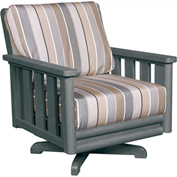 Stratford Outdoor Swivel Chair, Slate Gray w/ Berenson Tuxedo Sunbrella Cushions