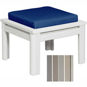 Stratford Outdoor Small Ottoman with Cushion, White/Milano Charcoal