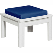 Stratford Outdoor Small Ottoman with Cushion, White/Berenson Tuxedo