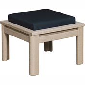 Stratford Outdoor Small Ottoman with Cushion, Beige/Jockey Red