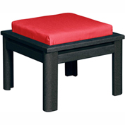 Stratford Outdoor Small Ottoman with Cushion, Black/Jockey Red