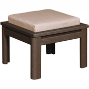 Stratford Outdoor Small Ottoman with Cushion, Chocolate/Indigo