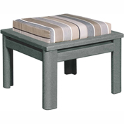 Stratford Outdoor Small Ottoman with Cushion, Slate Gray/Black