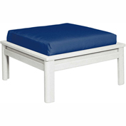 Stratford Outdoor Large Ottoman with Cushion, White/Indigo