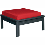 Stratford Outdoor Large Ottoman with Cushion, Black/Jockey Red