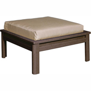 Stratford Outdoor Large Ottoman with Cushion, Chocolate/Berenson Tuxedo