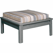 Stratford Outdoor Large Ottoman with Cushion, Slate Gray/Black