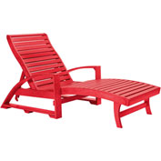 "St. Tropez Chaise Lounge w/wheels, Red, 72""L x 24""W x 36""H"