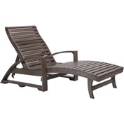 "St. Tropez Chaise Lounge w/wheels, Chocolate, 72""L x 24""W x 36""H"