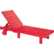"Generations Chaise Lounge with wheels, Red, 78""L x 24""W x 36""H"