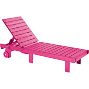 """Generations Chaise Lounge with wheels, Fuchsia, 78""""L x 24""""W x 36""""H"""