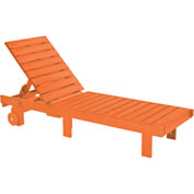 "Generations Chaise Lounge with wheels, Orange, 78""L x 24""W x 36""H"