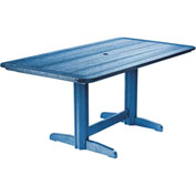 "Generations Double Pedestal Dining Table w/Base, Blue, 72""L x 36""W x 31""H"