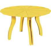 "Generations 52"" Scalloped Round Dining Table w/Base, Yellow, 47""L x 47""W x 31""H"