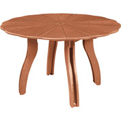 "Generations 52"" Scalloped Round Dining Table w/Base, Cedar, 47""L x 47""W x 31""H"