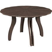 "Generations 52"" Scalloped Round Dining Table w/Base, Chocolate, 47""L x 47""W x 31""H"