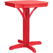 "St Tropez 28"" Square Counter Pedestal Table, Red, 28""L x 28""W x 36""H"