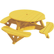 "Generations 51"" Round Picnic Table - Color Frame, Yellow"