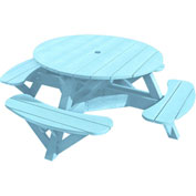 "Generations 51"" Round Picnic Table - Color Frame, Aqua"