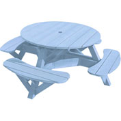 "Generations 51"" Round Picnic Table - Color Frame, Sky Blue"