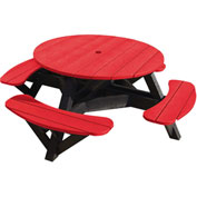 "Generations 51"" Round Picnic Table - Black Frame, Red"