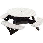 "Generations 51"" Round Picnic Table - Black Frame, White"