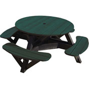 "Generations 51"" Round Picnic Table - Black Frame, Green"