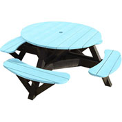 "Generations 51"" Round Picnic Table - Black Frame, Aqua"