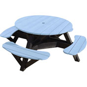 "Generations 51"" Round Picnic Table - Black Frame, Sky Blue"