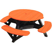 "Generations 51"" Round Picnic Table - Black Frame, Orange"