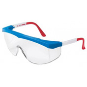 MCR Safety SS130 Stratos® Safety Glasses, Red/White/Blue Frame, Clear Lens