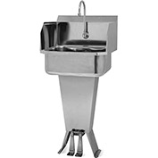 SANI-LAV 503L Floor Mount Sink With Double Foot Pedal Valve And Side Splash Guards