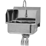 SANI-LAV 507L Wall Mount Sink With Double Knee Pedal Valve And Side Splash Guards