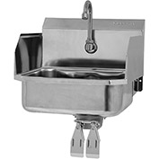 SANI-LAV 607D Wall Mount Sink With Double Knee Pedal Valve And Side Splash Guards